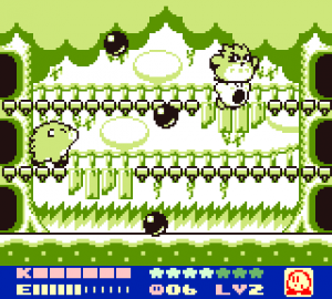 Kirby fighting one of the bosses with the help of Coo the Owl. Found this image on Arcade Bros. website.