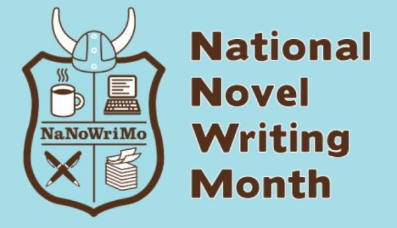 National Novel Writing Month logo. Can be found on NaNoWriMo's website, nanowrimo.org.
