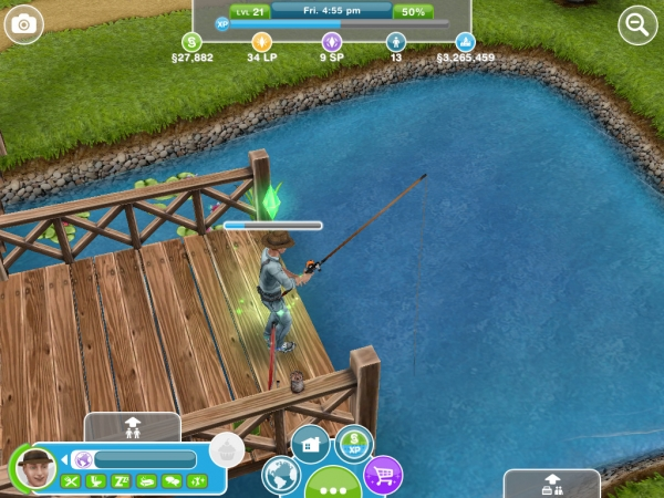 The Sims FreePlay Fishing Hobby